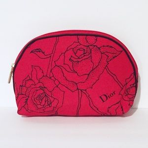 Vintage Christian Dior red floral cosmetic case